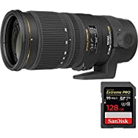 Sigma (589101) 70-200mm f/2.8 APO EX DG HSM OS FLD Zoom Lens for Canon DSLR Camera + Sandisk Extreme PRO SDXC 128GB Memory Card