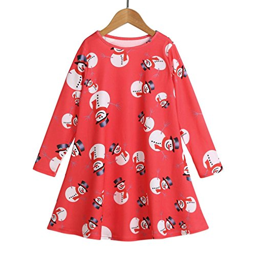 Long Sleeve Voile (Oksale Toddler Baby Girls Christmas Snowman Long Sleeve Princess Dress (Red, 6-7T))