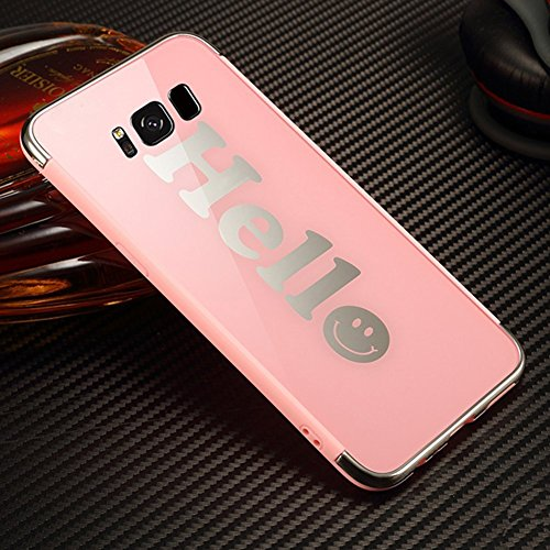 Funda Samsung Galaxy S8 Plus, EUWLY Samsung Galaxy S8 Plus Carcasa Silicona Ultra Slim Plating Mirror TPU Cover Case Anti-Rasguño Anti-Golpes Protectora Bumper Case para Samsung Galaxy S8 Plus Funda F Espejo Rosa,Hello
