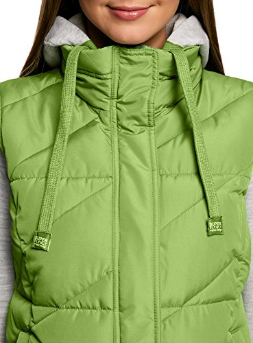 Ultra Chaleco oodji Capucha 6200n Verde con Mujer Acolchado nF8wfqdTxw