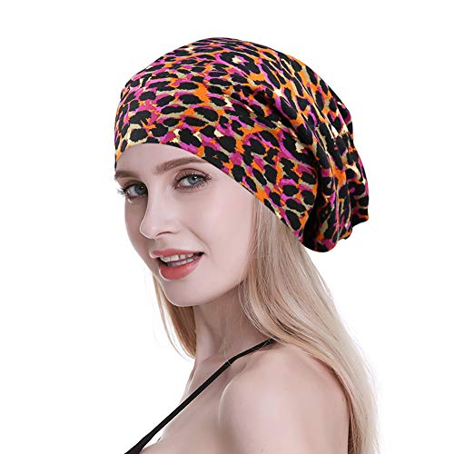Ladies Sleeping Cap for Frizzy Hair Night Beanie Hats Headwear Long Tail Colorful Leopard