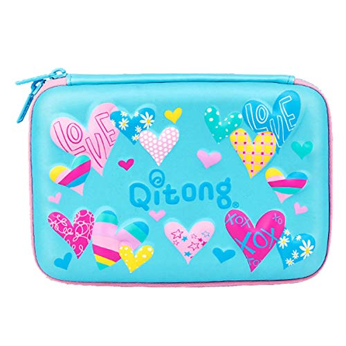 Cute Heart Patterns 3D Embossed Design Hard Shell Pencil Case with Big Capacity Stationery Pouch with Compartments for Kids (Blue)