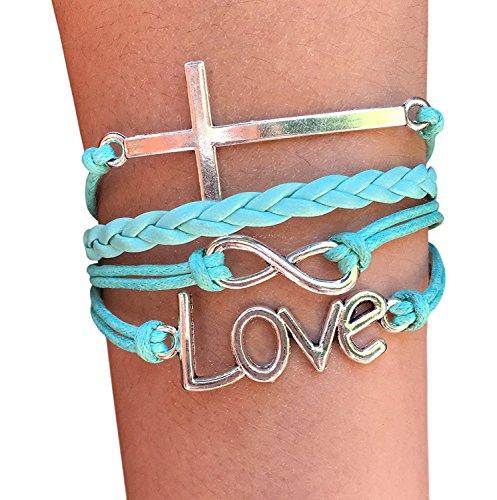 TimeLogo Infinity Charm Bracelet-Handmade Love and Cross Jesus Bracelet Christian Religion Bracelet Christian Gift for Women and Girls Children and Adult Sizing Gift