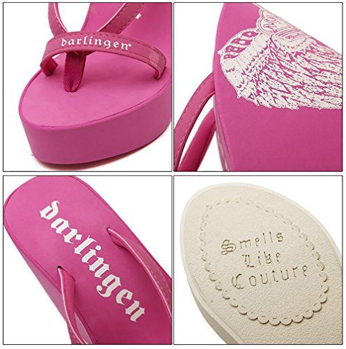 Estate Toe Shangxian Donna Pink Da 35 Spiaggia Pantofola Alto Tacco Infradito Clip Sandali Cuneo pink nYdd1RHq