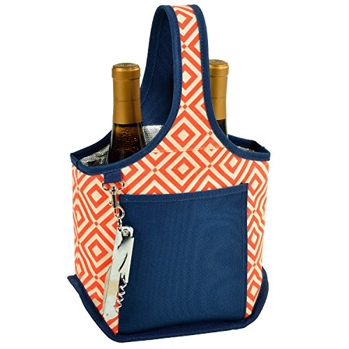 - Picnic at Ascot Stylish 2 Bottle Wine Tote with Corkscrew - Orange/Navy