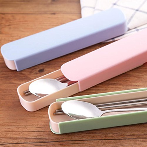Buyanputra Portable Travel Stainless Steel Spoon Chopsticks Cutlery Set with Carry Case (Pink) by Buyanputra (Image #2)