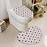 vanfan Non-slip Bath Toilet Mat Poker Cards Advertising Holis Getaways Tourist Destinatis Soft Non-Slip Water