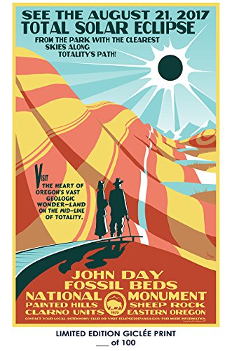 RARE POSTER eastern oregon SOLAR ECLIPSE event 2017 john day fossil beds REPRINT #'d/100!! 12x18 by Lost Posters