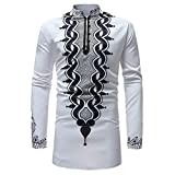 Beautyfine Men's Autumn Winter Top Blouse,Luxury African Print Long Sleeve Dashiki Shirt