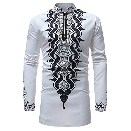 iLXHD Men's Top Blouse Autumn Winter Luxury African Print Long Sleeve Dashiki Shirt (White ,3XL)]()