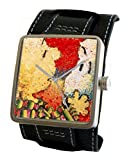 """Snoopy By Everhart"" Featuring Tom Everhart's Image of Snoopy in ""Dog Breath"" on the Dial of the Stainless Steel Cuff Watch with Wide Leather Strap"