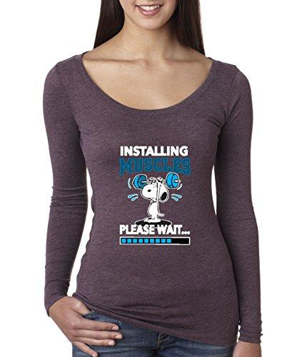 - New Way 433 - Women's Long Sleeve T-Shirt Installing Muscles Please Wait Snoopy Peanuts Workout Training Gym Medium Vintage Purple