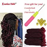 Eunice 6 Packs 12 Inch Ombre Burgundy Crochet Hair Braids Short Havana Mambo Twist Crochet Braiding Hair Senegalese Twists Hairstyles For Black Women 20 Strands/Pack (T1B/BUG)