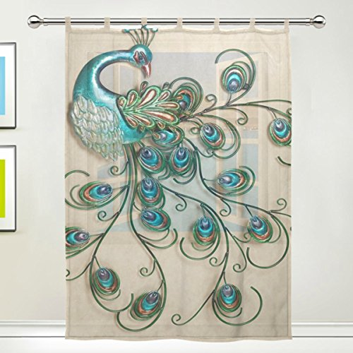 JSTEL Peacock Feathers Pattern Floral Print Tulle Voile Door Window Room Curtain Drape 1 Panel Sheer Scarf Valances Wide Width Gauze Curtain for Bedroom 55 x 78 Inch , Single panel