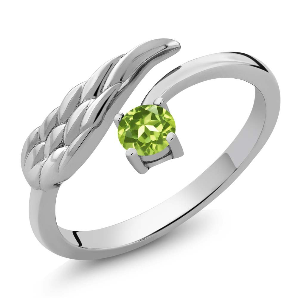 925 Sterling Silver Green Peridot Women's Wing Ring 0.30 Ct Round Gemstone Birthstone (Size 5)