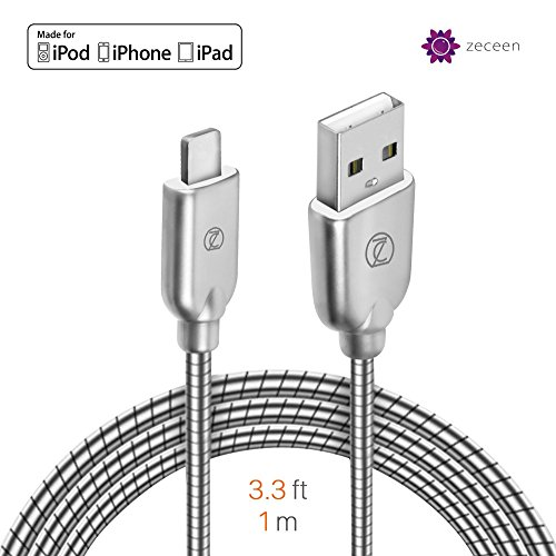 ZECEEN Metal USB Lightning Cable – Fast Charging & Data Transfer Cord (3.3 ft) – Almost Unbreakable – Bending & Weather Resistant – Compatible with iPhone X/8/7/6s/6/5s/5/SE, iPad Pro/Air/Mini by Zeceen