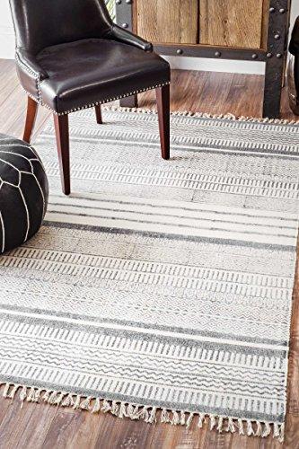 nuLOOM Handmade Flat Weave Textured Stripes Cotton Fringe Area Rug, 7' 6
