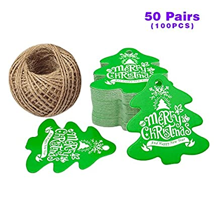 Amazon.com: 100 Pcs Christmas Gift Tags with String Christmas Tree ...