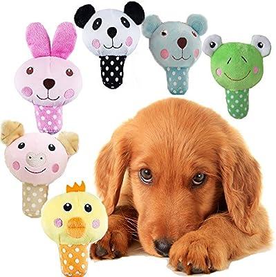 mimibox Squeaky perro juguete de felpa para Smalls perros – Pack de 3, color al azar: Amazon.es: Productos para mascotas