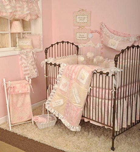 Cotton Tale Designs 100% Cotton Soft Pink & Cream 4 Piece Nursery Crib Bedding Appliqued Angels and Embroidered Spiritual/Religious Messages, Floral, Polka Dots & Stripes, Heaven Sent Girl Baby Gift ()