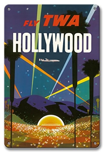- Pacifica Island Art 8in x 12in Vintage Tin Sign - Hollywood Bowl, California - Fly TWA (Trans World Airlines) by David Klein