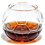 Soccer Whiskey Glass – 10 oz Uniquely Shaped Rocks Glass (other designs available) for Bourbon, Scotch, Brandy - Old Fashioned/Rocks Glasses from Prestige Decanters (Set of Two - Soccer Ball)