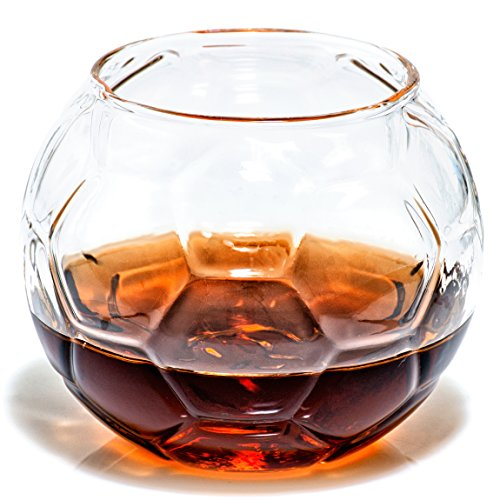 - Soccer Whiskey Glass - Rocks Glass for Rum, Tequila, Scotch, Glasses- Whiskey Gifts - 10oz Cocktail, Lowball, Old Fashioned Glass (Set of 2) Unique Bar Decor & Bourbon Gifts by Prestige Decanters