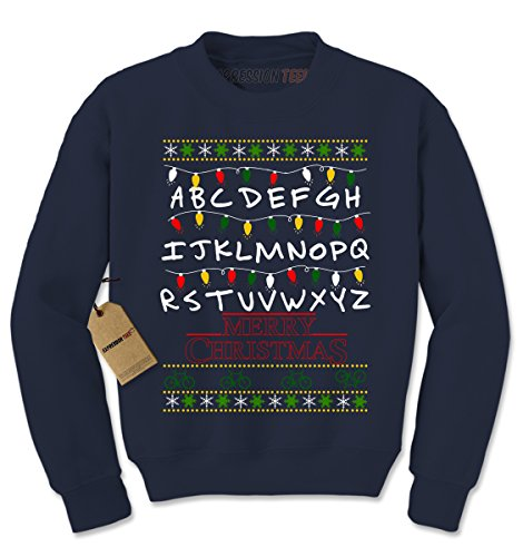 Crew Strange Merry Christmas Ugly Holiday Adult Medium Navy Blue