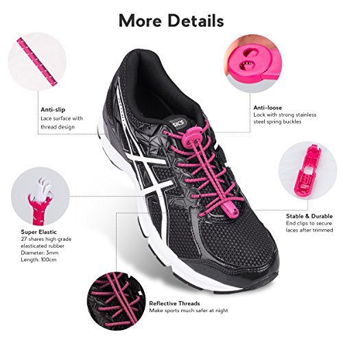 Kids No Reflective Lacing Lock Shoelaces 3 Hiking Shoes Quick for Tie Pairs Shoe with and Running for Adults Pink Elastic System Laces Running Climbing 5qZ7qS