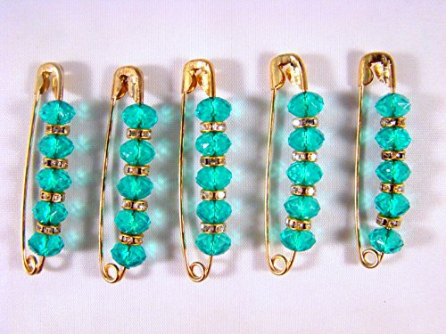 (Sarvam Decorative Safety Pins One Side of Pin Decorated with Turquoise Glass Beads Brooch Saree Pin Set of 5)