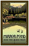 Mirror Pond In Drake Park, Bend Oregon Travel Art Print Poster by Paul Leighton (12'' x 18'')