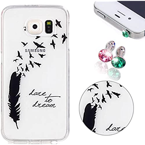 S7 Case, Samsung Galaxy S7 Case, Pershoo ULTRA SLIM Black Feather Pattern Soft Silicone Anti-Scratch + 2pcs Green Sales