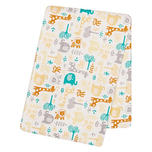 Trend Lab Lullaby Zoo Deluxe Flannel Swaddle Blanket, Green/Gray/Orange