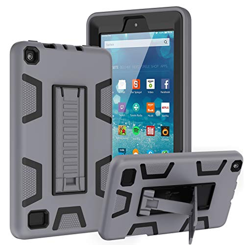 TOPSKY Case Compatible with All-New Amazon Kindle Fire 7 Tablet(9th/7th Generation,2019/2017 Release),Shockproof Rugged Hybrid Armor High Impact Resistant Prtective Case with Kickstand, Grey Black