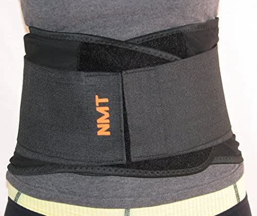 Back Brace by NMT ~ Lumbar Support Black Belt ~ Posture Corrector ~ Arthritis, Pain Relief, Sciatica, Scoliosis ~ Physical Therapy for Women-Men ~ 4 Adjustable Sizes-'XXL' Fits Waist 45-50