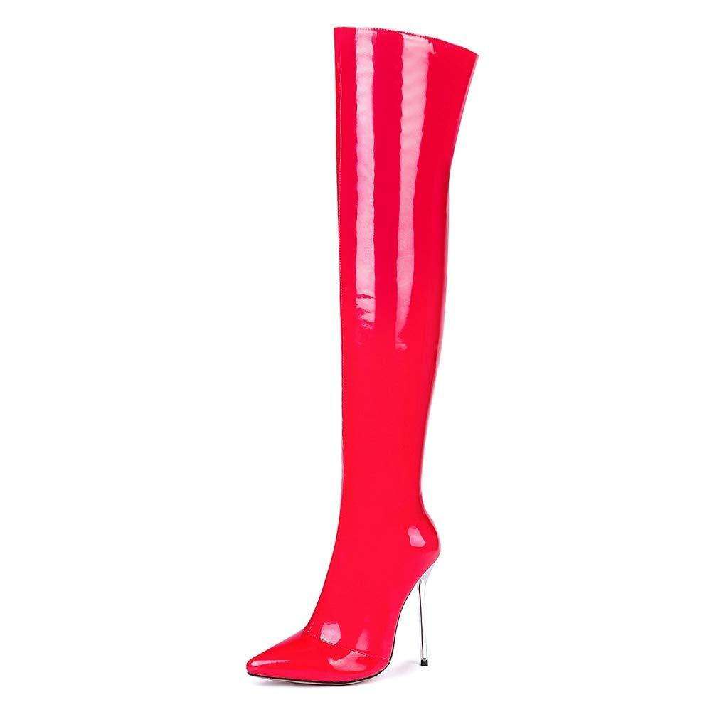 Red With Fur Women Female Party Winter Fashion shoes Zipper Thigh High Boot Thin High Heel Women Over The Knee Boots