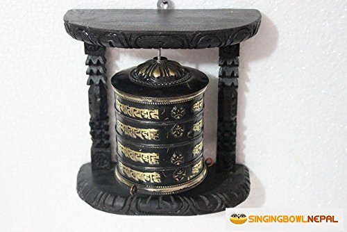 Om Brass Wall Hanging (Tibetan Om Mani Padme Hum Hand Held Wall Hanging Prayer Wheel - Brass and Wood Hand Crafted in Nepal)