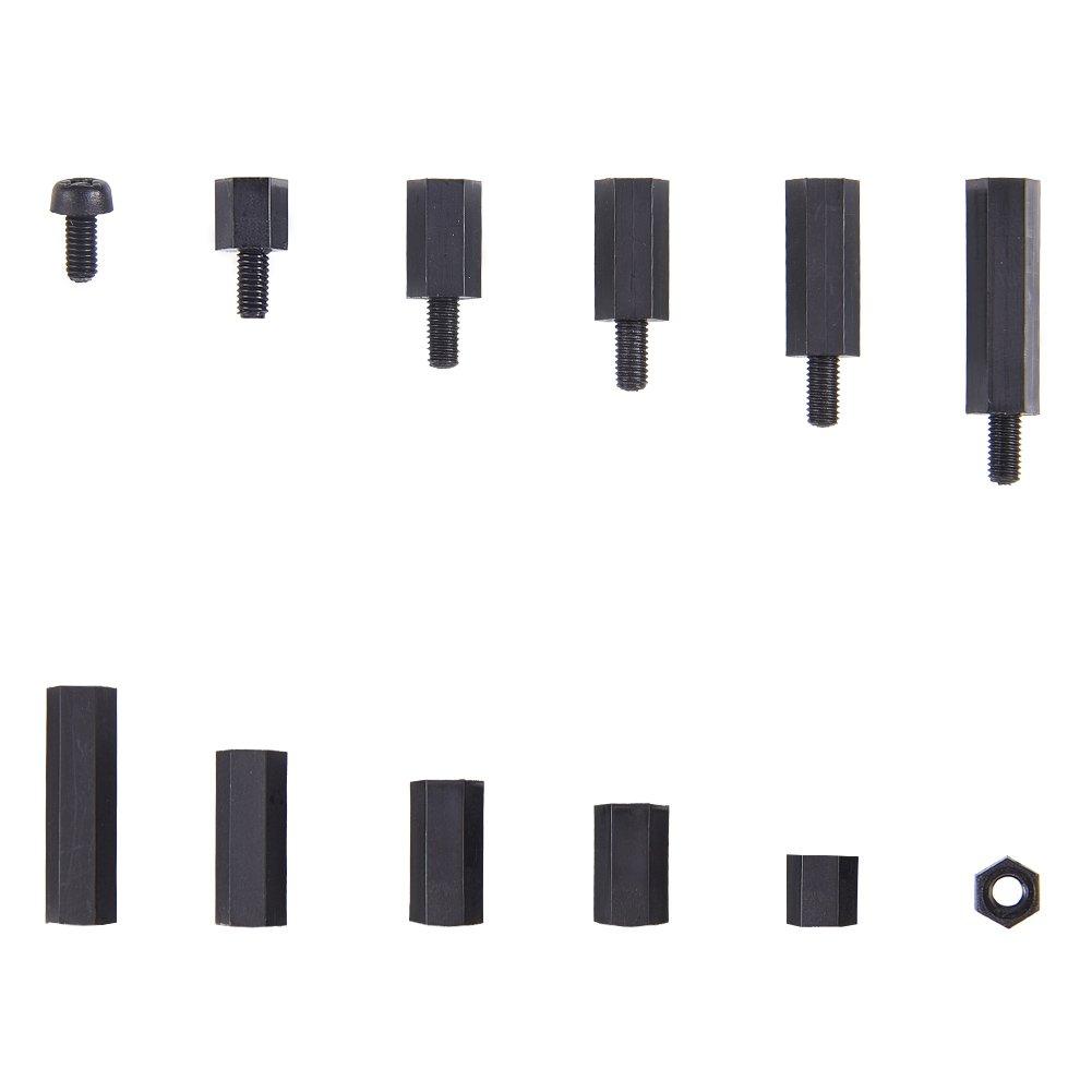 increway 300/St/ück M3/Nylon schwarz Sechskantmuttern Spacer schrauben Stand-Off Kunststoff Zubeh/ör Sortiment Kit