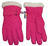 N'Ice Caps Girls Thinsulate Waterproof Quilted Ski Gloves with Fur Trim