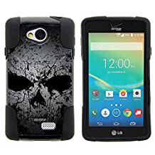 LG F60 Cover, Protective Hybrid STRIKE Impact Case w/ Dazzling Images and Kickstand for LG Tribute LS660, Transpyre VS810PP, Optimus F60 by MINITURTLE - Faded Skull