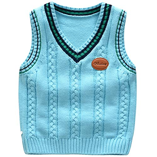 Vest Sweater Performance V-neck (Happy childhood Baby Toddler Boys Solid Color V Neck Sweater Vest Sleeveless Pullover Knitted Waistcoat Blue 130)