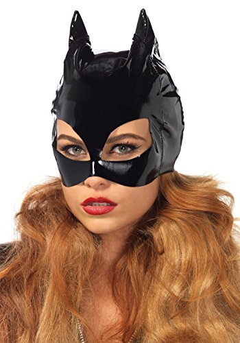 Leg Avenue Women's Vinyl Cat Woman Mask Costume Accessory, Black, One Size ()