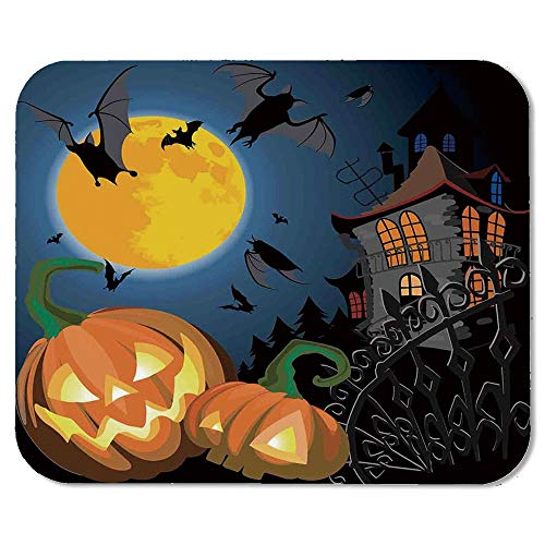 Halloween Decorations Personalized Mouse Pad,Gothic Halloween Haunted House Party Theme Decor Trick or Treat for Kids for Work Game,7.87''Wx9.45''Lx0.08''H -
