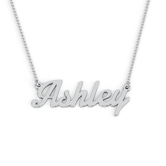 Sterling Silver Personalized Name Necklace in Glamorous Font by JEWLR