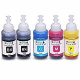 INKUTEN - Set of 5 Refill Ecotank Ink Kit 70ml for T6641 T6642 T6643 T6644 for Ecotank L100 L110 L120 L200 L210 L300 L350 L355 L550 L555 Printers
