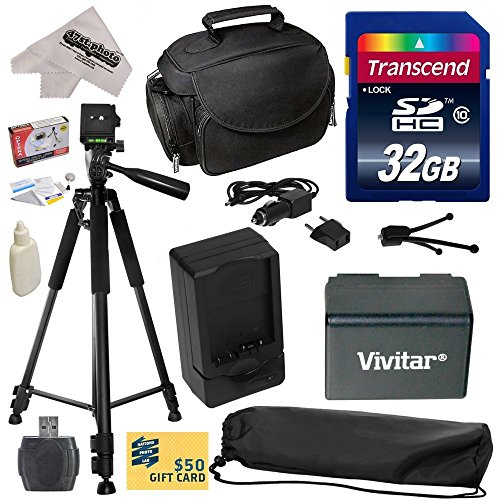 Must Have Accessory Kit for Canon VIXIA HF R52 HFR52, HF R50 HFR50, HF R500 HFR500, HF R32 HFR32, HF R30 HFR30, HF R300 HFR300, HF R42 HFR42, HF R40 HFR40, HF R400 HFR400, HF R36 HFR36, HF R306 HFR306, HF R38 HFR38, HF M50 HFM50, HF M52 HFM52, HF M56 HFM56, HF M500 HFM500, HF M506 HFM506 Video Camera Camcorder Includes - 32GB High-Speed SDHC Card + Card Reader + Vivitar BP-718 BP718 Extended 2300 mAh Lithium Ion Battery + AC/DC Rapid Battery Charger + Deluxe Padded Carrying Case + Professional