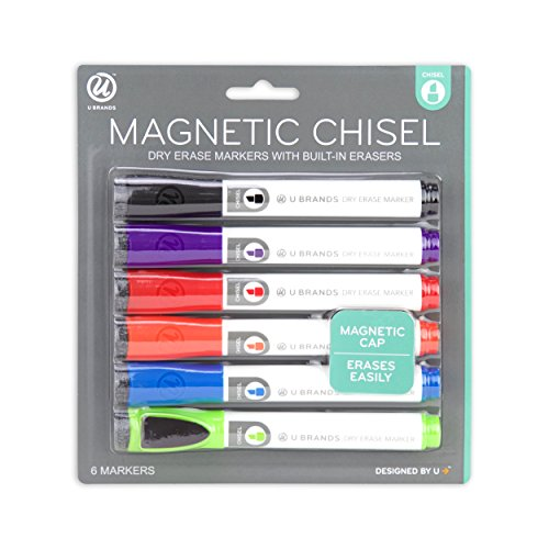 U Brands Low Odor Magnetic Dry Erase Markers With Erasers, Chisel Tip, Assorted Colors, 6-Count