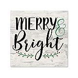 EricauBird Merry and Bright Wood Sign, Decorative