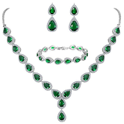Costume Jewelry Formal (BriLove Women's Wedding Bridal Jewelry Set Y-Necklace Tennis Bracelet Dangle Earrings Set with Teardrop CZ Infinity Figure 8 Emerald Color Silver-Tone May Birthstone)