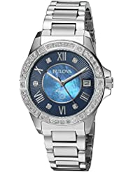 Bulova Womens Quartz Stainless Steel Casual Watch, Color Silver-Toned (Model: 96R215)